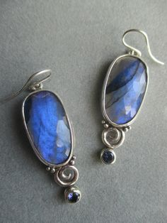 One of a Kind Sterling Silver Labradorite Earrings by RichelleJewelry on Etsy