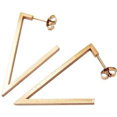 Stephanie Bates - Rose Gold Triangle Earrings ($105) ❤ liked on Polyvore featuring jewelry, earrings, rose earrings, triangular earrings, rose gold jewellery, pink gold jewelry and rose jewellery