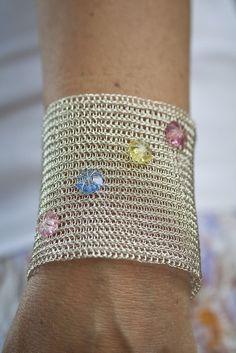 Wide metal cuff  Bridal cuff wire crochet handmade bracelet Swarovski cuff Fashion jewerly  cuff Extra wide cuff