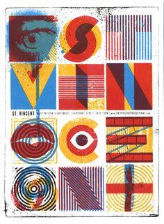 poster for june 3rd 2009 st. vincent show @ slowdown (nebraska), by doe eyed design