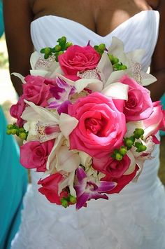 #bouquet, featuring roses, orchids and berries