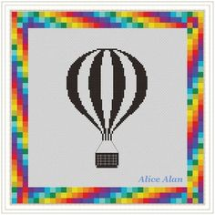 Cross Stitch Pattern Balloon hot Air Silhouette in by HallStitch