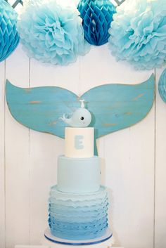 Whale cake from a Whale Themed Baptism + Birthday Party on Kara's Party Ideas   KarasPartyIdeas.com (18)