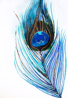 Peacock Feather III - Original 5x7 Watercolor Illustration with metallic gold accents - from Mai Autumn