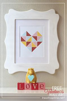 Triangle Heart Wall Art free download from Kiki and Company featured on iheartnaptime.net!