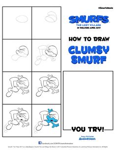 Draw your own version of Clumsy Smurf with this easy tutorial. Find a whole collection of printable Smurfs art sheets under the Fun & Activities tab at SmurfsMovie.com! | SMURFS: THE LOST VILLAGE arrives in theaters on April 7. #SmurfsMovie