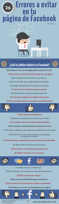 26 ERRORES A EVITAR EN TU PÁGINA DE FACEBOOK #INFOGRAFIA #SOCIALMEDIA #MARKETING