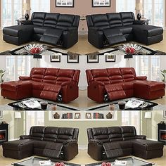 Leather Sectional Sofa Furniture Recliner Sectional Couch 2 Pc Living room Set
