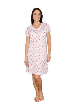 "Carole Hochman Strawberry Floral Pink 36"" Sleepshirt"