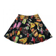 Food Print Mini Circle Skirt ($22) ❤ liked on Polyvore featuring skirts, mini skirts, patterned mini skirt, mini skater skirt, white skater skirt, flare skirt and mini flare skirt