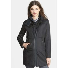 """Faux leather trim rain jacket. A slick water resistant  jacket is elevated with faux leather trim and styled for a sleek, streamlined silhouette. A tall stand collar and zip out bib and an extra layer of protection against the elements• stand up collar• Front zip closure• Long sleeves• Lined• Water resistant.(32"""" length) Marc New York by Andrew Marc Jackets & Coats"""