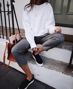 White long sleeve shirt, gray pants, black sneaker vans, simple necklace, casual fall and winter outfit,