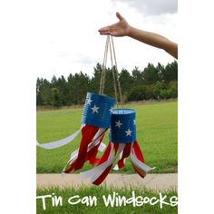 Tin Can Wind Sock From The Wilson World Blogspot. patriotic-memorial day-4th of july-red-white-blue-DIY-Craft