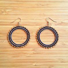Inti night blue hoop Miyuki glass beads and gold plated earrings Seed Bead Earrings, Beaded Earrings, Beaded Jewelry, Beaded Bracelets, Miyuki Beads, Bijoux Diy, Fabric Jewelry, Gold Plated Earrings, Bead Weaving