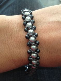 Right angle weave bracelet.  No tutorial, but easy enough to figure out without one!: