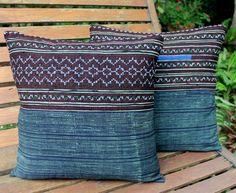 "Ethnic Hmong Pillows Embroidery and Indigo Batik 16 ""  Decorative Cushion Cover"