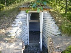 Earthbag root cellar. This probably cost less than $300 and took a day to build. @Serena Wilcox Sherod