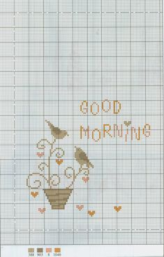 Good Morning free cross stitch pattern from www.coatscrafts.pl (Uses Anchor embroidery floss)