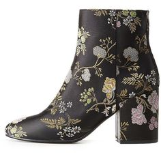 Charlotte Russe Floral Brocade Ankle Booties ($33) ❤ liked on Polyvore featuring shoes, boots, ankle booties, black, black ankle booties, bootie boots, black boots, block heel booties and short boots
