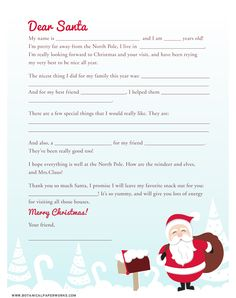 Write a letter to Santa: Check out this great Fill-in-the-Blank Letter to Santa - a great activity to help get the kids excited about the holidays. Preschool Christmas, Christmas Activities, Christmas Printables, Christmas Holidays, Merry Christmas, Xmas, Santa Letter Template, Letter Templates, Letter To Santa