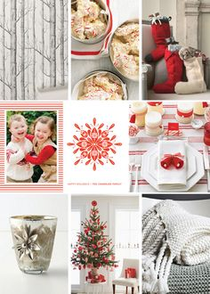 Minted holiday card inspiration board- this Nordic inspired card fits perfectly with a silver and red theme- stockings and cozy blankets keep you warm for the holidays
