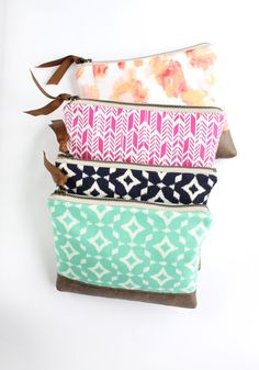 Mint Clutch Purse, Ikat Bag with Vegan Leather, Large Zipper Pouch