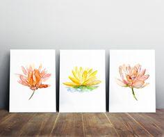 Lotus peinture-jeu de 3 tirages-jaune-orange-fleurs par Zendrawing