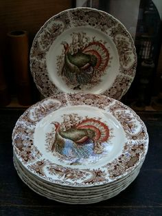 "Vintage English Turkey Plates Transferware my new obsession,,, ""ugly"" turkey plates/platters"