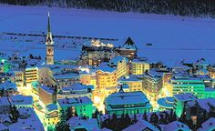 St. Moritz (Switzerland) - One of the most exclusive skiing destinations in the world.  Plan your trip to coincide with the White Turf Horse Race (Feb).