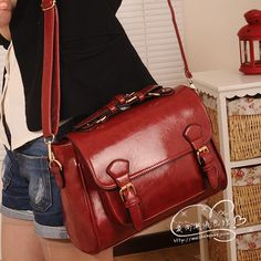 2013 women handbag   korean ' spring fashion antique vintage briefcase Wine red  cross-body women messenger bag  free shipping $776,51