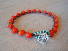"SALE Beaded boho chic crochet bracelet - slashKnots Stackers ""Tomato Twist"" tomato red, turquoise, opal glass, stack & layer, bold vibrant"