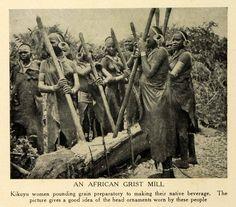 Kikuyu Women Pounding Grain 1912
