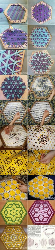 Hexagonal weaving and tying Loom Bands, Weaving Projects, Knitting Projects, Weaving Patterns, Crochet Patterns, Yarn Crafts, Diy And Crafts, Loom Craft, Diy Coasters