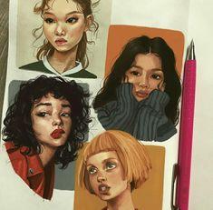 Fabulous Drawing On Creativity Ideas. Captivating Drawing On Creativity Ideas. Painting & Drawing, Gouache Painting, Drawing Hair, Art Sketches, Art Drawings, Art Et Design, Arte Fashion, Illustration Art, Illustrations