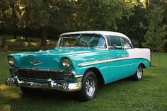 1956 Chevy Bel Air   1956 chevy bel air coupe color tropical torquoise and ivy