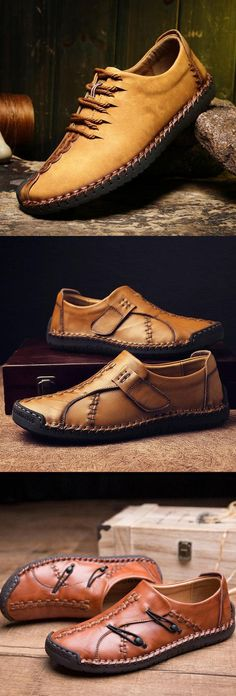 Menico Herren Leder Halbschuhe Sneaker Businessschuhe Handstitching Schnürschuhe