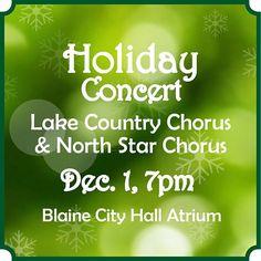 Free Holiday Concert w/ #LakeCountryChorus & #NorthStarChorus tomorrow Dec. 1 @ 7pm http://ift.tt/21prgHU #pin