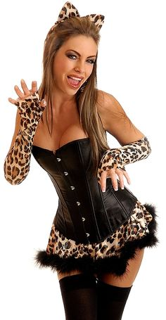 Costume includes strapless corset with front busk closure, lace-up back for cinching and matching thong;