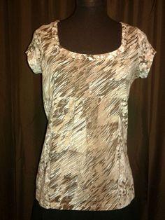 LIZ & CO. Cap Sleeve Brown Print Top scoop neck Empire pullover Cotton Sz…