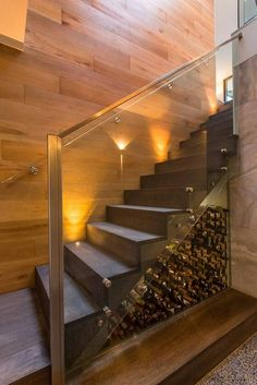 Under stairs space shouldn't be left unused, it's not a dead space! For those of you who love wine we've gathered cool ideas to organize a wine cellar or some simple wine storage space there. Under Stairs Pantry, Under Stairs Wine Cellar, Home Wine Cellars, Wine Cellar Design, Home Bar Designs, Modern Stairs, House Stairs, Staircase Design, Staircase Ideas