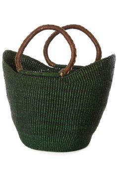 Green Ghanaian Wing Shopper with Brown Leather Handles-For Mother's Day