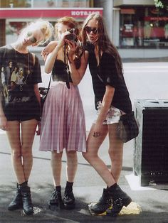 Combat Boots, Rock N' Roll Tee Shirt, High Waisted Skirt, Shades and a Camera. #Bffs