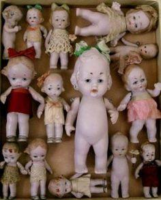 Antique  Tiny Bisque  German  Dolls (154 pieces)