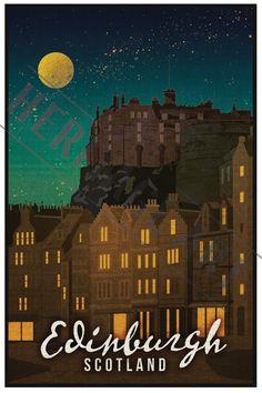 Affiche de voyage Edimbourg Ecosse - Vintage par HeritageArtPrints sur Etsy https://www.etsy.com/fr/listing/225838102/affiche-de-voyage-edimbourg-ecosse