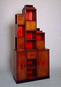 "Artist Name: Paul Frankl  Nationality & Life Dates: American, born Austria, 1887–1958  Title: ""Skyscraper"" Bookcase  Date: 1926  Medium: Birch and lacquer  Dimensions: 84 x 39 x 14 inches  Credit Line: Purchase in honor of Darlene Schultz, President of the Members Guild, 1991-92, with funds from the Decorative Arts Endowment  Accession Number: 1991.404"