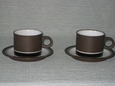 Hornsea Contrast pair of Teacups and Saucers by TheKnally on Etsy