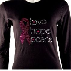 Pink Ribbon Hope Black Long Sleeve XL  from Morties Boutique for $29.95