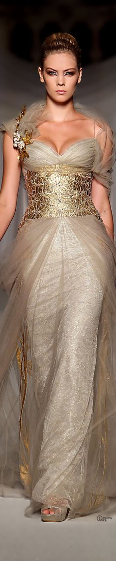 White and Gold Wedding. Gold Bridesmaid Dress. Soft and Romantic. Abed Mahfouz Haute Couture   #GoldDress