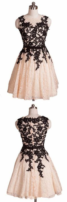 Champagne Prom Dresses, Aline Formal Dresses, Lace Evening Dresses, Short Homecoming Dresses,132