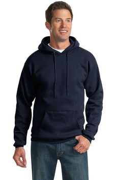 Port & Company Tall Essential Fleece Pullover Hooded Sweatshirt in Jet Black, with a custom logo Hoodie Sweatshirts, Nike Hoodie, Crew Neck Sweatshirt, Fleece Pullover, Pullover Sweaters, Blank T Shirts, Mens Big And Tall, Full Zip Hoodie, Hoods
